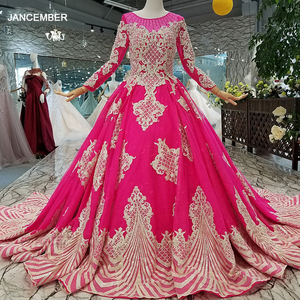 Image 1 - LS710455 magenta wedding party dresses long o neck long sleeve lace up back mother off the brides dress cheap graduation dress