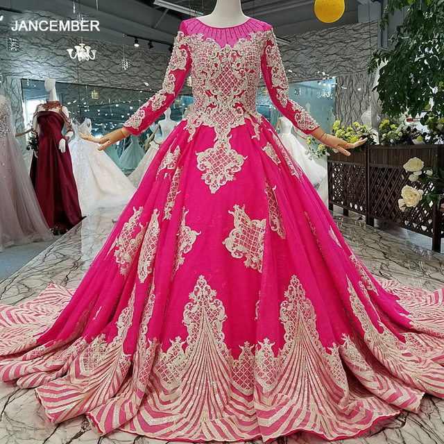 LS710455 magenta wedding party dresses long o neck long sleeve lace up back mother off the brides dress cheap graduation dress