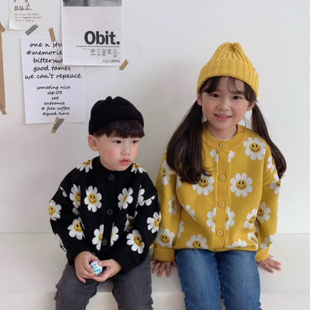 2020 Autumn New Arrival Girls Fashion Floral Sweaters Kids Korean Design Cardigans  Girl Cardigan 1