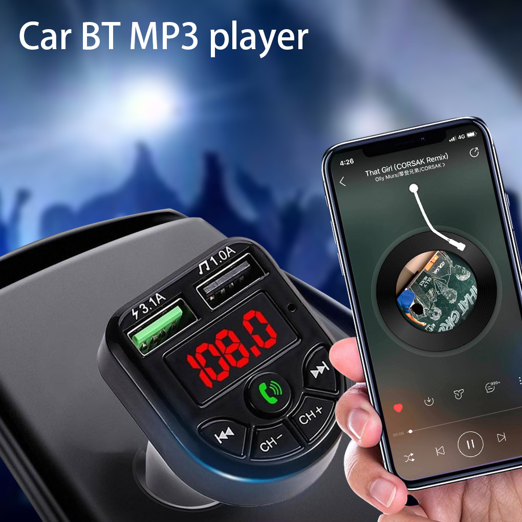Car Bluetooth Stereo Player Vehicle Wireless MP3 Audio Radio Transmitter with USB Phone Charger