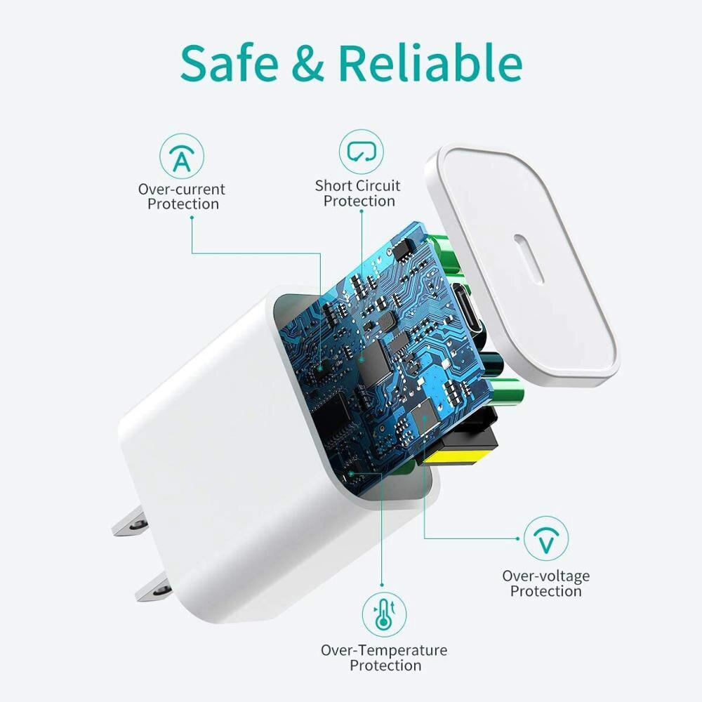 20 Вт 18 Вт Pd Usb C зарядное устройство для Iphone 12 Pro Max 11 Xs Xr для быстрой зарядки зарядным устройством типа C Qc 3,0 на Xiaomi быстрой зарядки мобильный телефон зарядное устройство-1