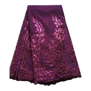 Image 4 - Tissus en dentelle africaine vert émeraude, tissus de haute qualité en dentelle à séquence, 5 yards, tulle français en dentelle pour robe pour femmes