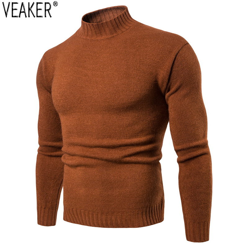 2019 Autumn New Men's Striped Turtleneck Sweater Male Sexy Slim Fit Solid Color Knitted Pullovers Tops Casual Sweaters Knitwear