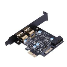 Carte d'extension PCI Express PCIE vers USB 3.0, Super rapide, avec 2 Ports USB, PCIE 1x4x8x16x, connecteur d'alimentation 19 broches