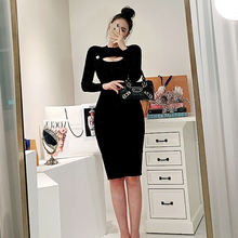 Early autumn new products sexy temperament round neck hollow