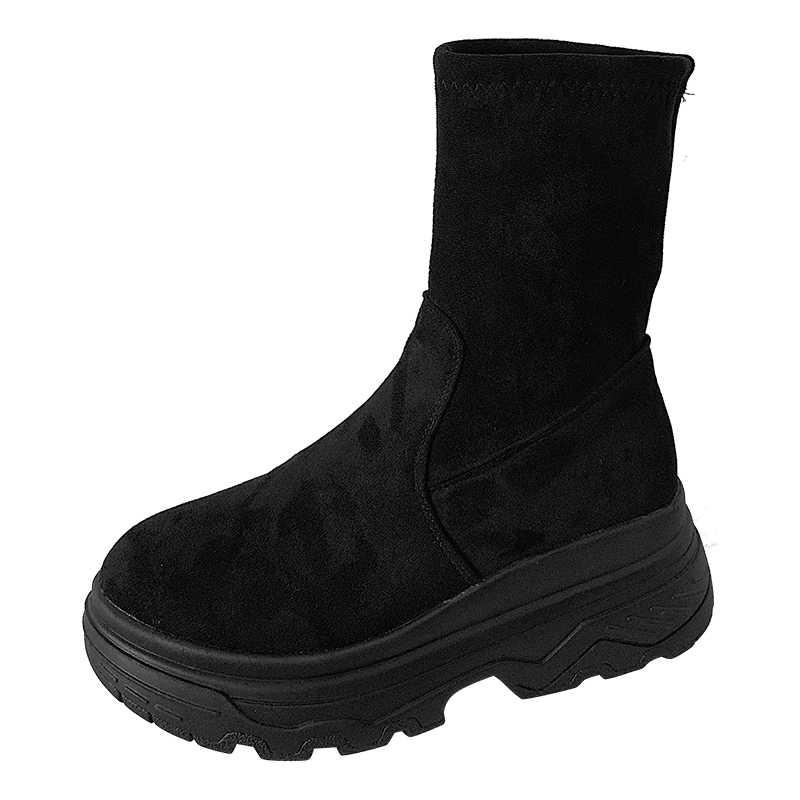LMCAVASUN แพลตฟอร์มรองเท้าผู้หญิงรองเท้าหนังนิ่ม Equestrian ฤดูหนาวหนารองเท้าผู้หญิง LACE-up กันน้ำ Martin BOOT