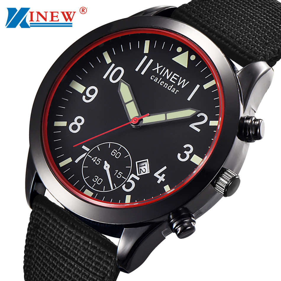 XINEW Mens Watches Relogio Masculino Men Military Quartz Army Watch Black Date Luxury Sport Luminous Wrist Watch Erkek Kol Saati