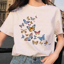 Kawaii Butterfly T Shirt Meow Women Funny Cartoon Print Tshi