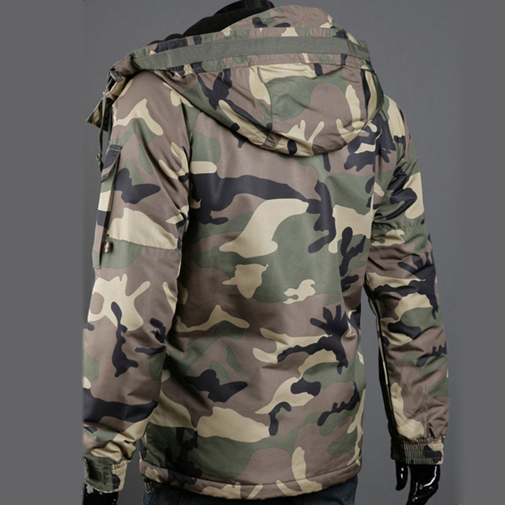 Fashion Winter Warm Men Jacket Coat Thicken  Camouflage Print Pocket Jacket Zipper Long Sleeve Coat For Men's Clothing 2