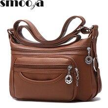 SMOOZA Brand Designer Women Messenger Bags Crossbody Soft Leather Shoulder Bag High Quality casual Women Bag Luxury Handbag