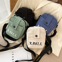 2020 new casual mini canvas small bag tide womens shoulder cross-body printing multi-function
