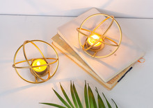 2PCS wrought iron golden candlestick Nordic creative modern minimalist round home decorations romantic candlelight props