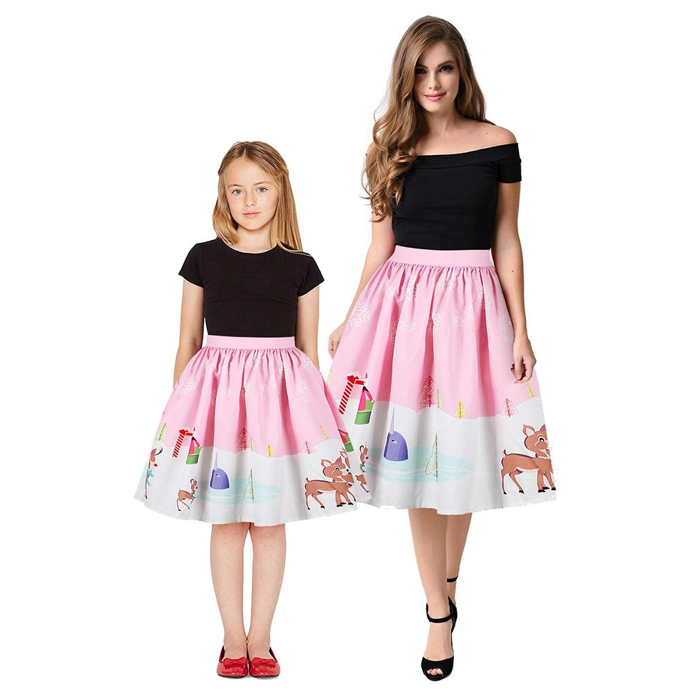Christmas Girls Dress Teens Girls Party Dresses For Girls Family Matching Outfits New Year Mom Daughter Dresses Carnival Dress (1)