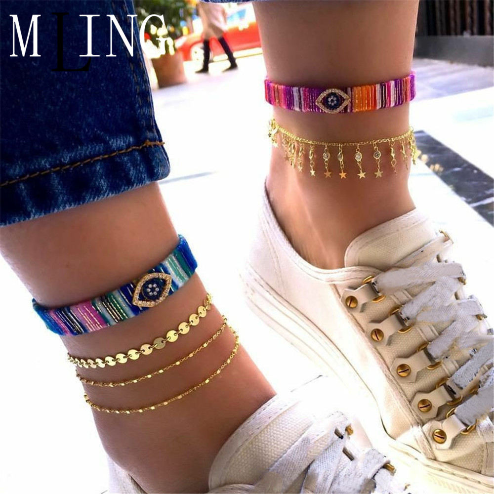 MLING 4 Pcs/Set Vintage Gold Alloy Anklet Set Bohemian Handmade Weave Crystal Eye Star Sequin Tassel Ankle for Women