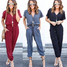 Jumpsuit Women Clothes Chiffon Playsuit Short Sleeve V Neck Clubwear Bodycon Sex