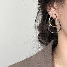2020 di nuovo Modo di Doppio strato di Metallo Geometrica Goccia Ovale Orecchini Con Perno Per le donne Ragazza Minimalista Dichiarazione Dei Monili Degli Orecchini