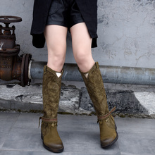 Artmu Original Warm Plush Knee-high Boots Thick Sole Middle Heel Canvas Women Boots Personalized Tassel Leather Boots New Winter vallu sexy stylish long boots for women 2018 new warm knee high boots lady thick heel nubuck leather female plush shoes