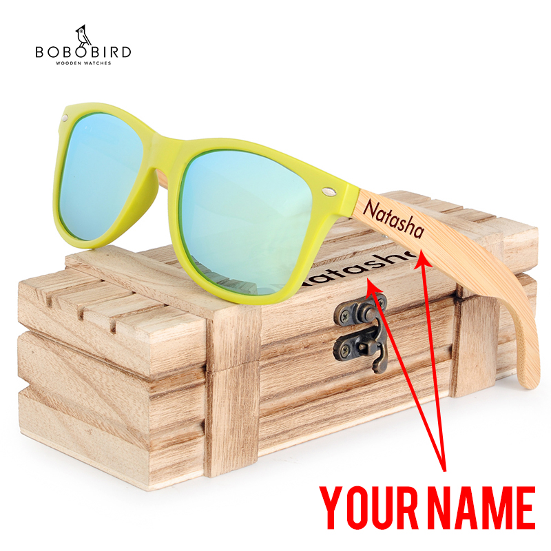 BOBO BIRD Fashion Bamboo Sunglasses Polarized Glasses Accept Engraving Your Name Oculos Feminino Great Gift with Wooden Box