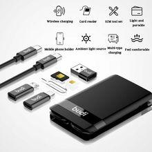 Multifuncional universal led luz usb tipo c portátil cabo de dados adaptador cartão x6ha