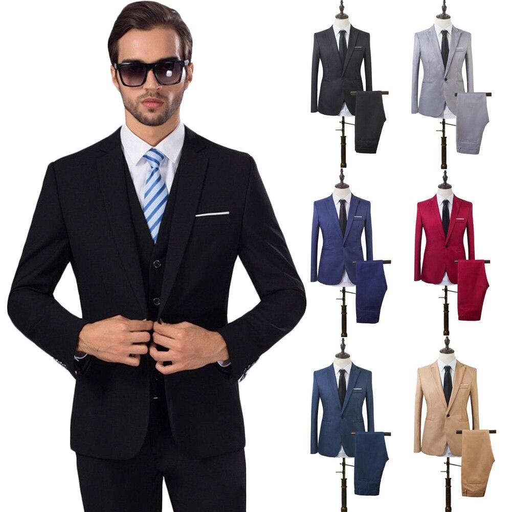 Conjuntos de trajes delgados de moda para hombre, ropa Casual de negocios, pantalones de traje de dos piezas para padrino, pantalones de boda para novio