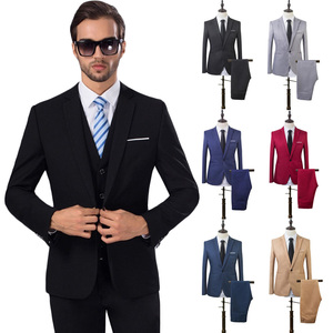 Men's Fashion Slim Suits Sets Business Casual Clothing Groomsman Two-Piece Suit Pants Trousers Wedding Groom Trousers