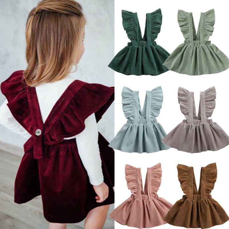 2020 New Baby Girls Suspender Dress Cute Toddler Baby Girls Ruffles Sleeveless Corduroy Tutu Dress Winter Party Solid Outfits
