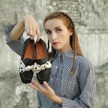 Shoes Square Toe Flat-Sole Genuine-Leather Women's with Silk Bowknot Gray/black Handmade