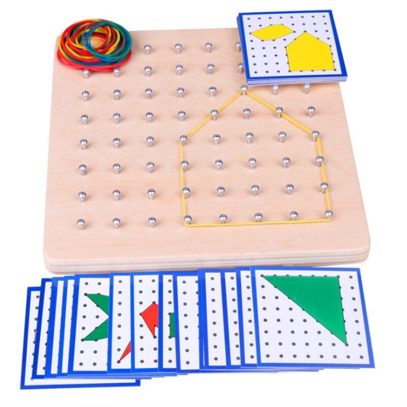 Детские игрушки Монтессори креативная графика резиновый галстук для ногтей доски с карточками детское образование дошкольники