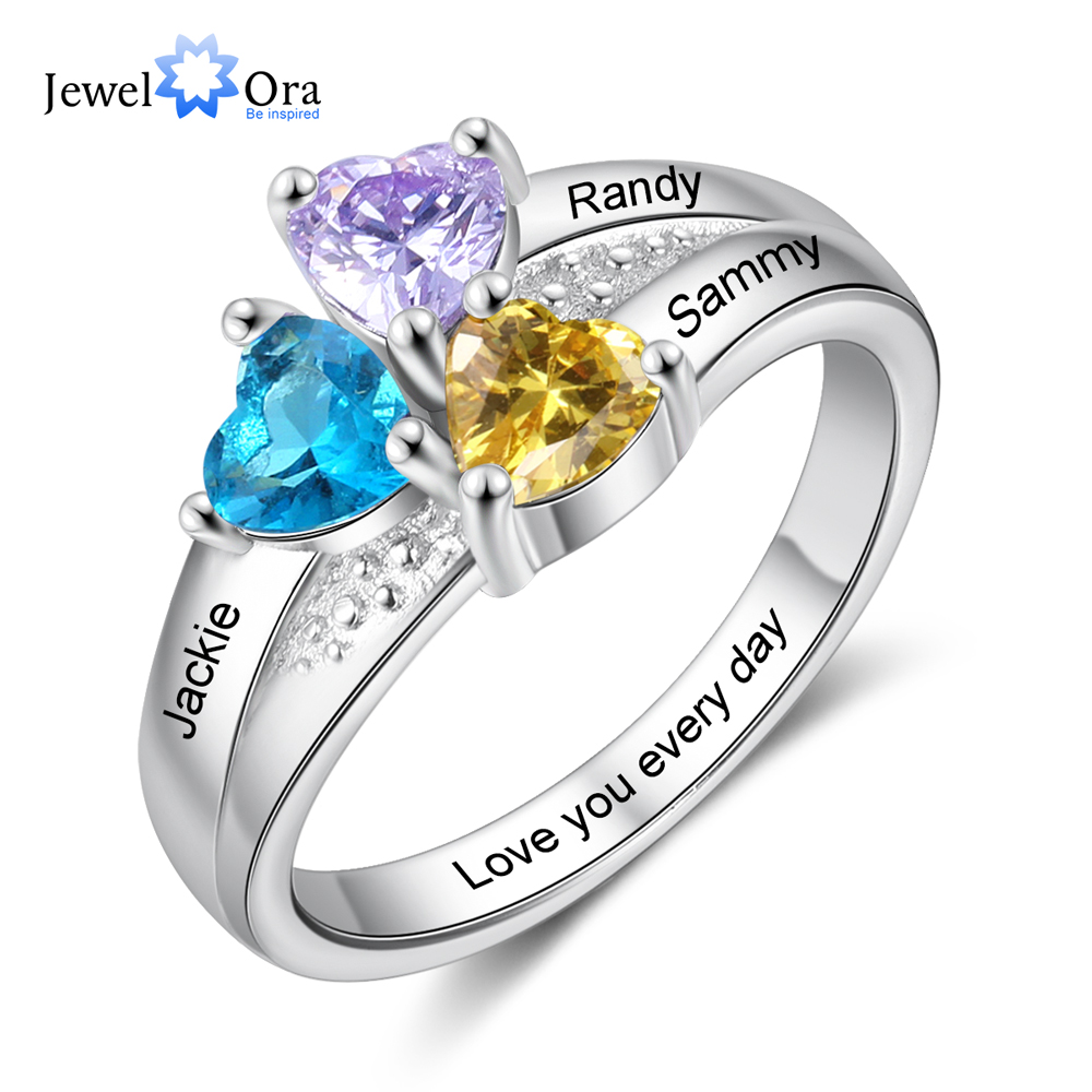 JewelOra Personalized Silver Color Engraved Name Copper Rings for Women Customized 3 Heart Birthstones Wedding Ring Gift for Mom