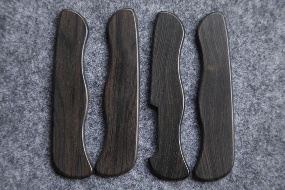 DIY Ebony Wood Saber Knife Replacement Scales for 111mm Victorinox Swiss Army Knife EDC Mod