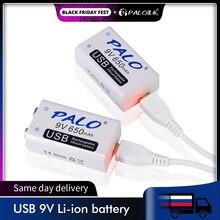 Palo 2-20Pcs 9 V 6F22 Usb Lithium Oplaadbare Batterij 9 Volt 650Mah Li Ion Liion smart Snel Opladen Batterijen