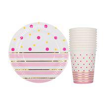 20 sztuk/partia złoto różowe paski jednorazowe stołowe Party papierowe talerze Baby Shower Birthday Party Supplies kubki papierowe zastawa stołowa