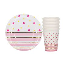 20pcs/lot Gold Pink Striped Disposable Tableware Party Paper Plates Baby Shower Birthday Party Supplies Paper Cups Tableware