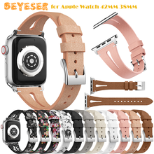 цена на Bracelet Belt Genuine Leather Band for Apple Watch 42MM 38MM 44MM 40MM Strap for iWatch series 5 4 3 2 1 Watchband accessories