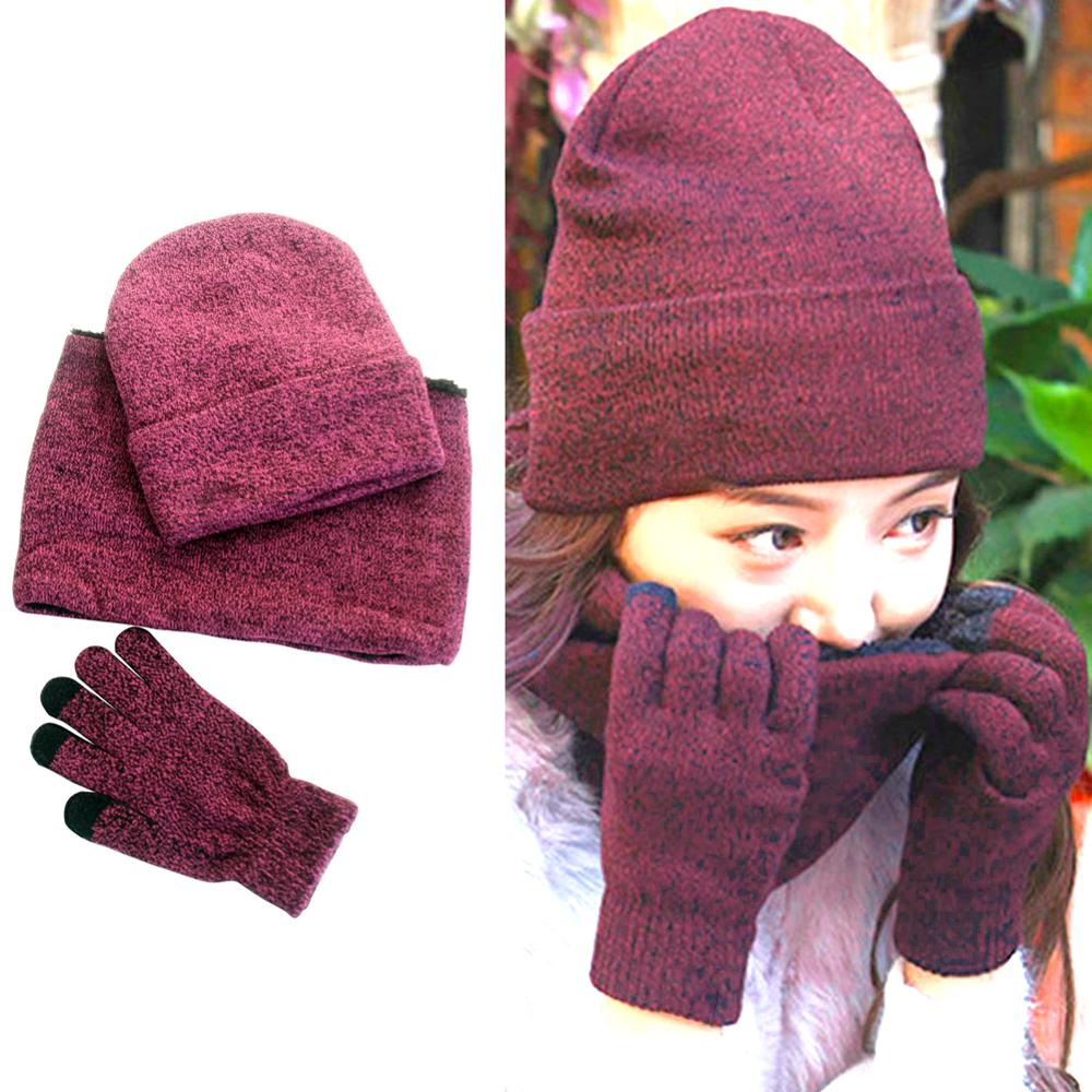 3-Pieces Set Winter Beanie Hat For Men And Women Gloves Hat Scarf Warm Scarf Hat Set Warm Inner Velvet Stylish And Wild