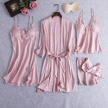 Pembe kadın seksi 4 adet elbise takım elbise bahar yeni gevşek Kimono bornoz elbise gevşek rahat gelin nedime düğün pijama gecelik