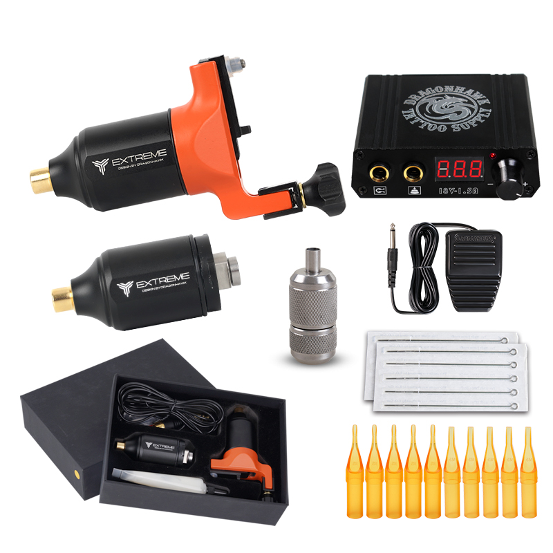 Dragonhawk Tattoo Kit Rotary Machine Gun 2 Motor Power Supply Needles Grip Tip LY