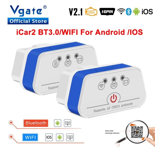 Vgate iCar2 OBDII elm 327 Bluetooth/wifi קוד קורא אוטומטי אבחון כלי obd2 סורק ELM327 OBD 2 אבחון ממשק מתאם