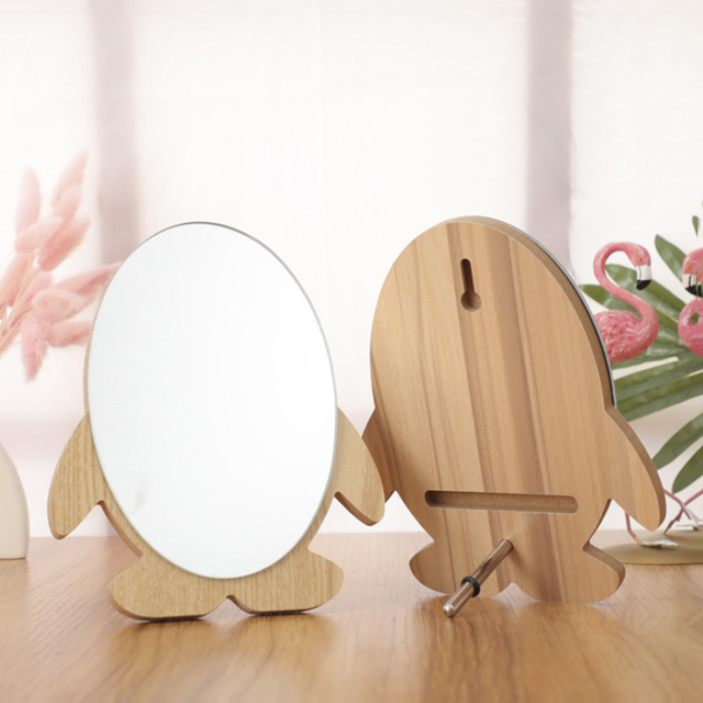 Cartoon Wooden Makeup Mirror Desktop Mirror Beauty Mirror Solid Wood Mirror Living Room Bedroom Furniture Mirror