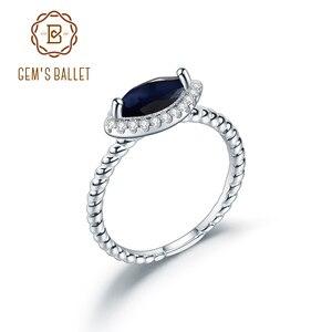 GEM'S balet klasyczny 925 Sterling Silver Marquise halo pierścienie dla kobiet naturalny szafir Topaz ametyst Gemstones pierścień biżuteria
