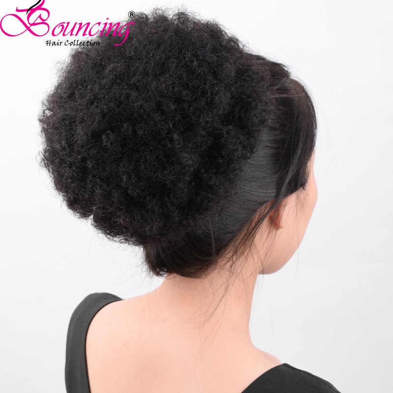 Подпрыгивающие волосы афро слоеный конский хвост булочка Расширение Клип в волосах шнурок регулируемый remy человеческих волос для черной женщины