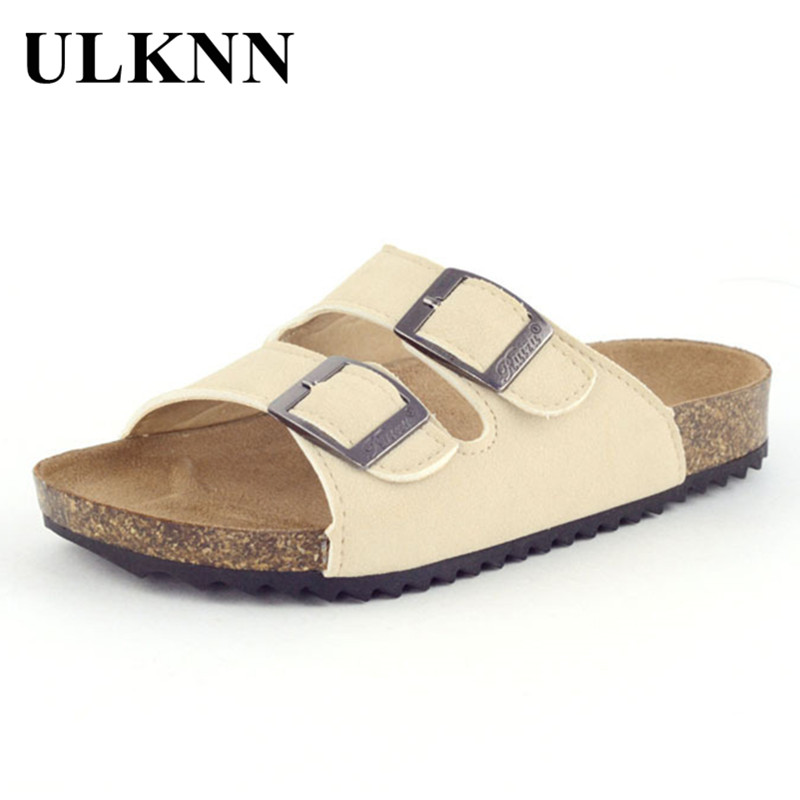ULKNN Children Cork Slippers Fashion Summer Sandals Kids Shoes Slip On Child Boys Girls Sandals