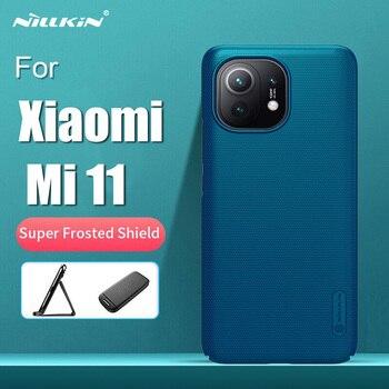 NILLKIN-funda para Xiaomi Mi 11, carcasa de protección Super esmerilada, carcasa trasera dura, parachoques, con soporte para Xiaomi 11 Mi 11 teléfono