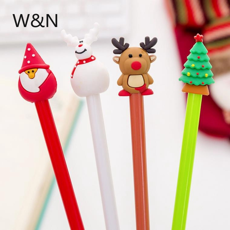 4 Pcs/set Cartoon Christmas Tree Santa Claus Snowman Elk Gel Pens For School Office Supply Escolar Papelaria Gel Pen Stationery