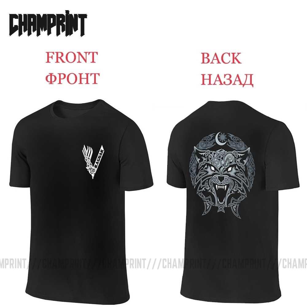 Wölfe Von Ragnarok Vikings Valhalla Odin T-Shirt Männer Vorne und Zurück 100% Baumwolle Zwei Seiten Tees Kurzarm T Hemd druck