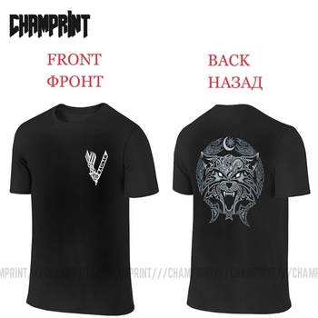 Wolves Of Ragnarok Vikings Valhalla Odin T-Shirt Men Front and Back 100% Cotton Two Sides Tees Short Sleeve T Shirt Printing - discount item  40% OFF Tops & Tees