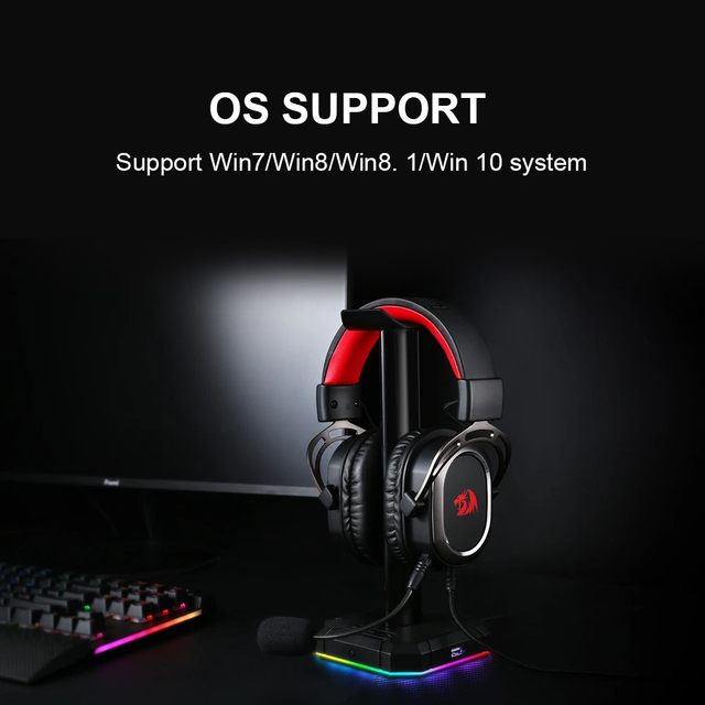Redragon-auriculares H710 Helios para videojuegos, cascos con micrófono y cancelación de ruido, 7,1 USB Surround, para ordenador, controlador EQ 5