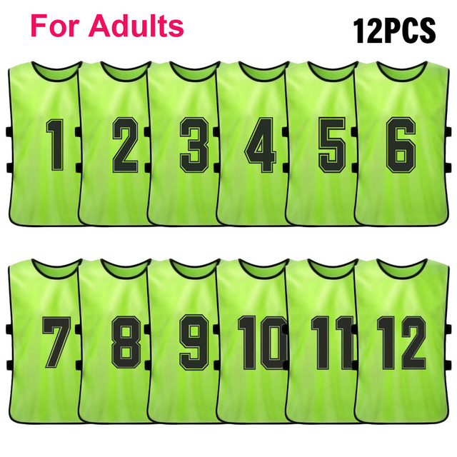 12 PCS Adults Soccer Pinnies Quick Drying Football Team Jerseys Youth Sports Scrimmage Soccer Team Training Numbered Bibs