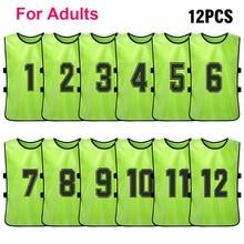 12 PCSผู้ใหญ่ฟุตบอลPinniesแห้งเร็วทีมฟุตบอลJerseysเยาวชนกีฬาScrimmageฟุตบอลทีมการฝึกอบรมหมายเลขBibs