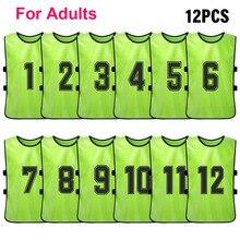 12 قطعة الكبار لكرة القدم Pinnies التجفيف السريع لكرة القدم فريق الفانيلة الشباب الرياضة سكريماج فريق كرة قدم التدريب مرقمة المرايل